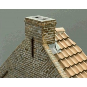 Double Hollow Old Red roof tile (1:35 scale)