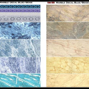 Blue and Beige Marble Decals