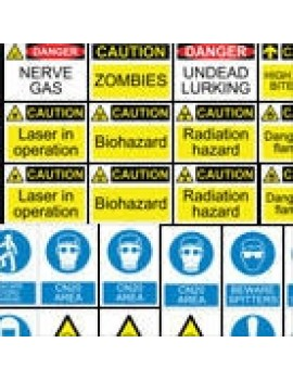 Zombie Warning Sign Decals